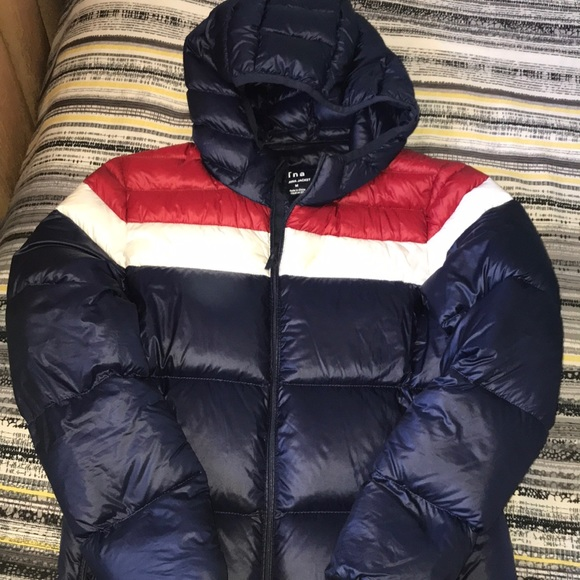 Blue, red and white TNA puffer jacket